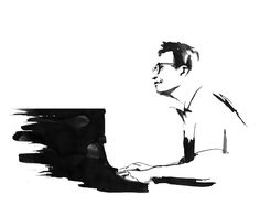 Dave Brubeck - black & white ink illustration by Eri Griffin http://www.erigriffin.com/