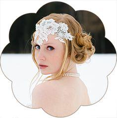 Boho-Vintage-Haarband: Haarband aus feinster Spitze. Haarband ivory für Hochzeiten und Standesamt. Lace headband, Boho Hairaccessoires wedding.