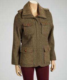 Take a look at this Brown Herringbone Jacket - Women by Up Country on #zulily today!