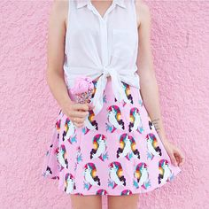 Girl crushin' hard on @randomactsofpastel. How adorable is she in our pink dolphin skirt ? #fashionista #streetstyle #stylist