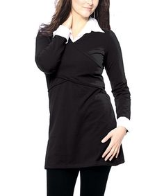 Take a look at this Black Anna Organic Maternity & Nursing Crisscross Tunic - Women by Paola Maria on #zulily today!