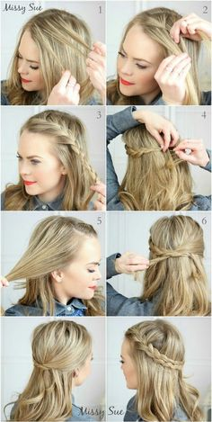 Super sweet everyday hairstyles for medium length # everyday hairstyles # mitt . - Frisuren - - everyday hairstyles,everyday hairstyles for long hair,everyday hairstyles for short hair Five Minute Hairstyles, No Heat Hairstyles, Easy Hairstyles For Medium Hair, Trendy Hairstyles, Braids For Medium Length Hair, French Plait Hairstyles, Simple Braided Hairstyles, Side Braids For Long Hair, Teenage Hairstyles