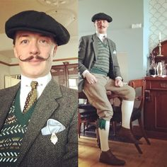 Today's outfit for a cycle to The Bethnal Green Affordable Vintage Fair. #fairisleknitting #collarbar from @thomasfarthinglondon #tweed #1920s #1930s #doubleroundcollar from @darcyclothingmenswear #breeks #mustache #wax by @wax_industries_official #artdeco