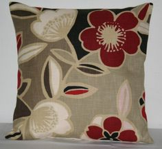 Beige Red Black Decorative Pillow Covers 18inch