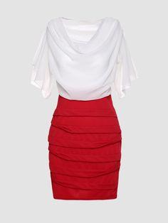 9553cb23cf32 Cowl Neck Color Block Bodycon Dresses