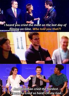 Jonathan Groff + crying on the last day of filming Glee...