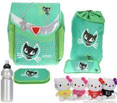7 TEILE HERLITZ FLEXI PLUS komplett Schulranzen Ranzen CAT DELUXE GREEN + Flasche + HELLO KITTY Katze: Amazon.de: Koffer, Rucksäcke & Taschen