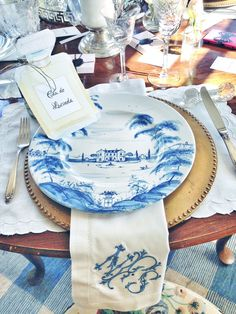 Scenes from a french luncheon featuring our charming Country Estate Delft Blue dinnerware. Blue And White China, Blue China, Love Blue, Bridesmaid Luncheon, Enchanted Home, Table Settings, Place Settings, China Patterns, Table Arrangements