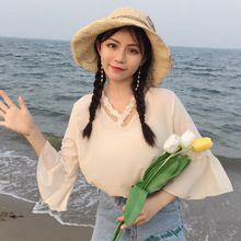 Mihoshop Ulzzang Korean Korea Women Fashion Clothing Beige Lace Chiffon shirt Sweet Blouse //FREE Shipping Worldwide //