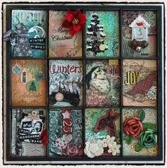 Christmas ATC card tray - TIm Holtz  This is also a good starting pt for stamping polymer tiles for a tray or table top.