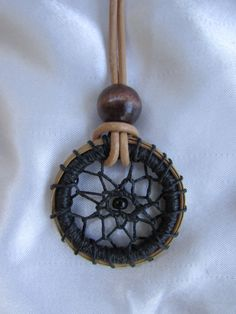 Round Dream Catcher Leather Pine Needle Necklace, Pendant Necklace, Wood and Black Seed Bead, Dream Catcher Jewelry, Necklace, Ready to ship by KandApineneedlebskt on Etsy