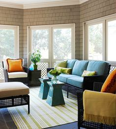 living rooms, sunroom idea, outdoor rooms, wicker furniture, add pop, accent colors, sunroom colors, porch, bright colors