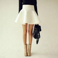 Sexy Skirt Women 2017 Solid Thick Pleated Skirts High Waist Flared Skirt Super Mini Skater Super Short Skirt