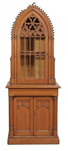 A Victorian Pine Gothic Revival Cabinet On Cupboard ,