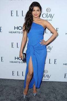 Pin for Later: 21 Reasons Priyanka Chopra Is the Style Star to Watch Right Now Make Trends Your Friend For a January 2016 Elle party, Priyanka's Vionnet dress combined the one-shouldered and thigh-high slit trends.