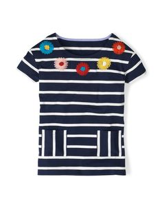 Embroidered Flower Top WL876 Short Sleeved Tops at Boden