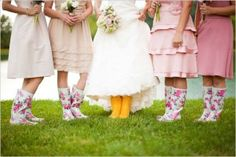 Fun floral welly boots