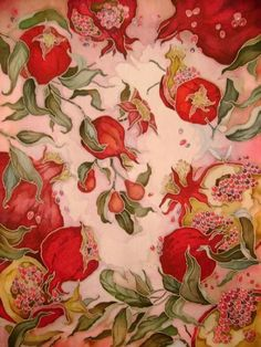 Waiting for pomegranate season Motifs Textiles, Textile Patterns, Print Patterns, Fabric Painting, Fabric Art, Grenade Fruit, Botanical Illustration, Illustration Art, Pomegranate Art