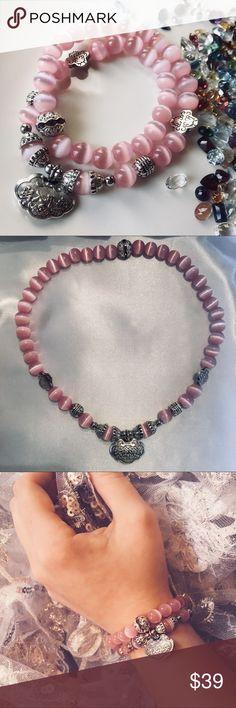 Genuine Pink Tigers Eye Bracelet or Choker Genuine Pink Tigers Eye & Silver Stretchable Bracelet or Choker. NWOT Jewelry Bracelets