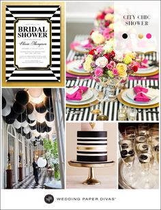Black and white is a color trend we don't see going away any time soon. By adding a splash of pink and gold metallic it makes for a gorgeous color theme for any wedding occasion including a City Chic bridal shower.