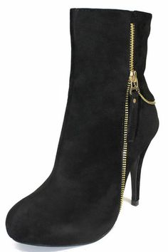 Black Suede High Heel Ankle Boot With Gold Tone Zipper