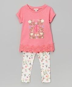 Look at this Juicy Couture Pink Lace-Trim Tee & Leggings - Toddler & Girls on #zulily today!
