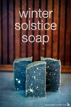 Winter Solstice Soap (CP) - palm-free. With Dead Sea mud and Australian black clay to darken it up, and some clods of white clay and titanium dioxide to act as stars, it's a striking bar.