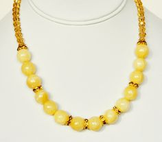 Yellow Necklace Handmade Beaded Jewelry with Gold Beaded Necklace and Swarovski Crystals