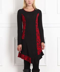 Red & Black Floral Long-Sleeve Dress - Women by Reborn Collection #zulily #zulilyfinds