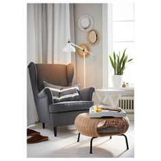 IKEA - STRANDMON, Wing chair, Nordvalla dark grey, You can really loosen up and relax in comfort because the high back on this chair provides extra support for your neck. Chaise Ikea, Ikea Chair, Egg Chair, Rattan Furniture, Handmade Furniture, Strandmon Ikea, Poltrona Bergere, Storage Footstool, Ikea Footstool