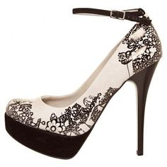 Love the silhouette and ankle strap, but love even more the subtle line art that looks at first like lace, but then more like graffiti close up.