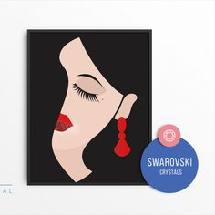 This amazingly luxury illustration is embellished with Swarovski crystals.  We are based in Tirol in Austria and we take our stones directly from the Swarovski factory.   Crystals are in perfect quality, they shine so beautifully and the live effect isn't even comparable to pictures seen in the offer. Crystal Lips, Female Portrait, Austria, Swarovski Crystals, Stones, Live, Luxury, Unique Jewelry, Illustration