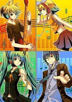 Len, Rin, Miku, Kaito