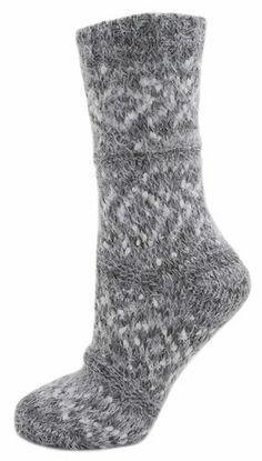 b958ebe53 Ladies   Girls Grey Fair Isle Fluffy Chenille Knitted Bed Socks