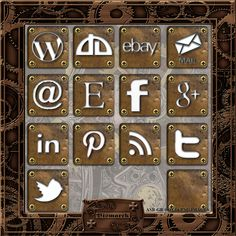 Steampunk Social Media Icons #1 [ASB-GR-0011] - $1.50 : The Airship Bismarck, Fine Quality Steampunk Masks, Goggles, and Accessories