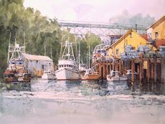 """Paris Shadows  10"""" x 12"""" image watercolor  SOLD        Noyo Harbor Parking  12"""" x 16"""" image watercolor  Available at Brushworks Gallery, S..."""