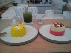 angel cake YUZU et Fruit Rouge et thé froid Yuzu matcha