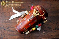 Tailor's Assistant - the Original functional leather steampunk sewing bracer, costume cosplay Renaissance