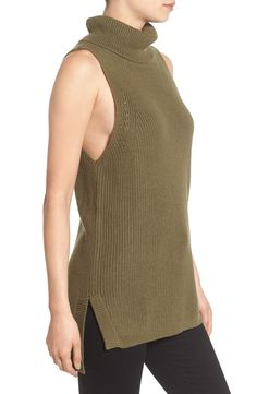 This sleeveless turtleneck sweater has wide armholes and flattering side slits that offer layer-ready versatility for fall. Such a great piece from the NSale.