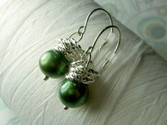 Jump In the Water is Fine - green freshwater pearl stacked jumpring sterling silver earrings. $21.00, via Etsy.