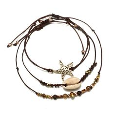 ATIMIGO Turtle Starfish Rope Anklet Bracelet Bohemian Handmade Foot Chain Beach Jewelry for Women Teen Girls Beaded Anklets, Anklet Jewelry, Anklet Bracelet, Beach Jewelry, Bracelet Set, Beaded Necklace, Beauty And Fashion, Fashion Looks, Fashion Women