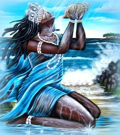 """""""Iemanja's themes are foresight, divination and psychic abilities. Her symbol is water. In Brazil, Iemanja is considered the ocean's spirit. Every drop of saltwater bears Her im… African Mythology, African Goddess, Oshun Goddess, Goddess Art, Yemaya Orisha, Yoruba Orishas, Yoruba Religion, Black Mermaid, Black Love Art"""