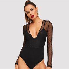 7f329db876 Sexy Mesh Overlay Form Fitting Deep V-Neck Skinny Long Sleeve Plain Women  Bodysuits - Black