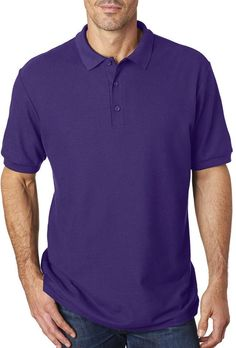 gildan(R) premium cotton(R) adult double pique polo - purple (xl)