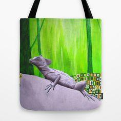 lizard in magic forest Tote Bag by Ninamelusina - $22.00