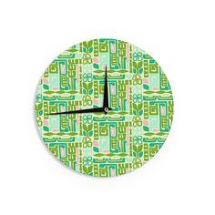 """Kess InHouse Amy Reber Maze"""" Green Vector Wall Clock 12"""" (Maze) (Wood)"""