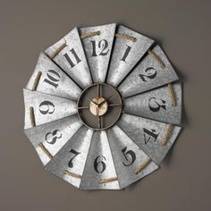 "29"" Aluminum Fan Wall Clock I'm in love with this! So many ways to do this with other materials"