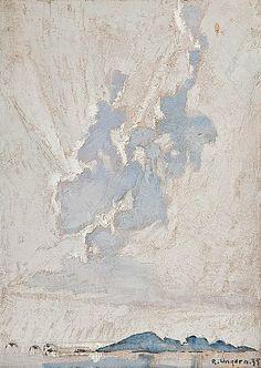 RAGNAR UNGERN, A CLOUD. Sign. -35. Oil on board, 20x16 cm.