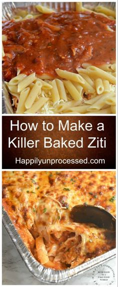 How to Make a Killer Baked Ziti - Happily UnprocessedYou can find Main dishes and more on our website.How to Make a Killer Baked Ziti - Happily Unprocessed Ziti Al Horno, Healthy Recipes, Cooking Recipes, Healthy Food, Grilling Recipes, Cooking Ideas, Best Food Recipes, Crockpot Recipes, Keto Recipes