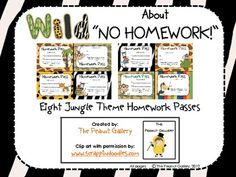 FREE! Your students will be wild about these passes or coupons which enable them to skip a homework assignment! Eight different colorful passes are...
